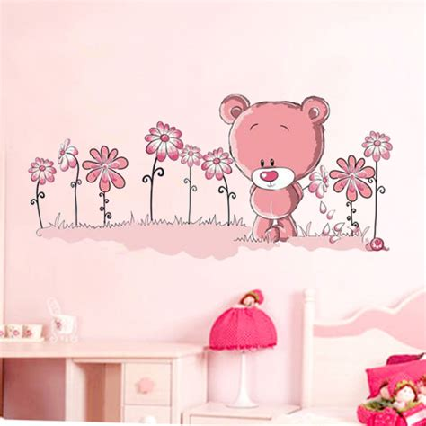 childrens wall stickers uk aliexpress buy pink teddy wall stickers