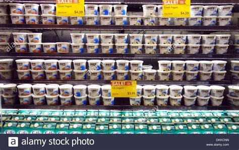 Bibit Yoghurt Di Supermarket yogurt and milk on display in a supermarket in toronto canada stock photo royalty free image