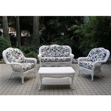 chicago wicker 174 seaview 4 pc wicker patio furniture collection 106182 patio furniture at