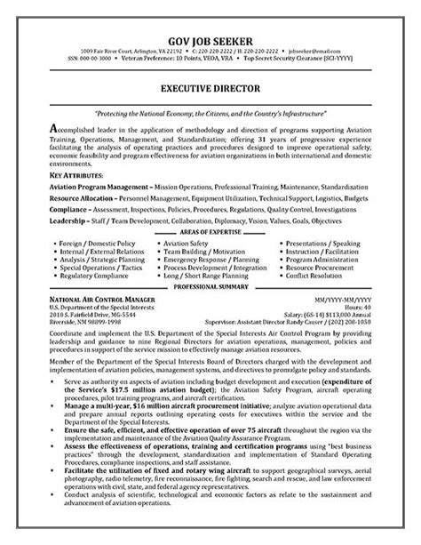 federal government resume sles government resume exle