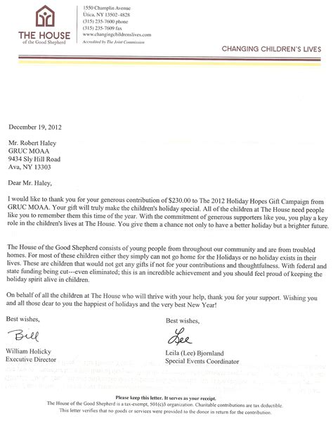 Thank You Letter For Executive Level Community Support