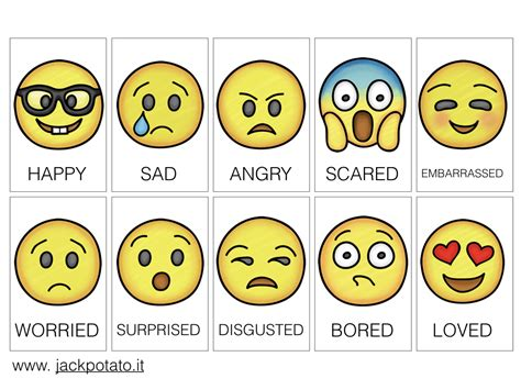 delle emozioni schede didattiche emozioni kit didattico con emoticons potato