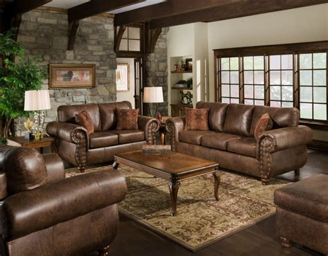 Dark Brown Leather Mixed Brown Microfiber Sleeper Sofa Combined With Square Ottoman Coffee Table