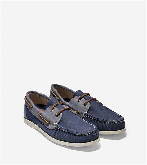 cole haan boat shoes cole haan dominick boat shoe in blue for lyst