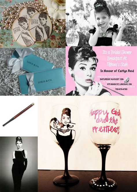 wedding mood board hepburn themed bridal shower