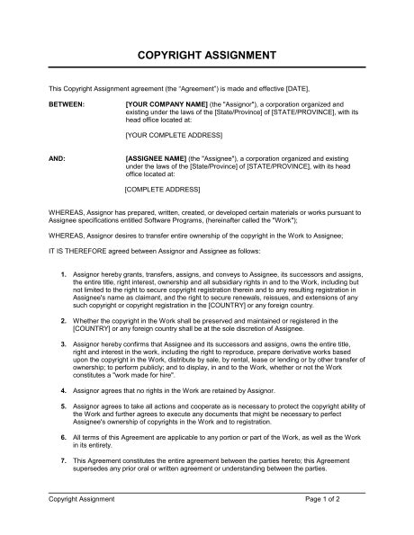 copyright assignment for software template sle form