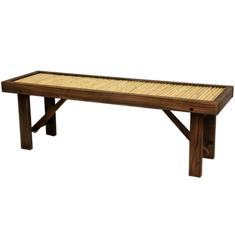 oriental furniture japanese bamboo bench w wood frame