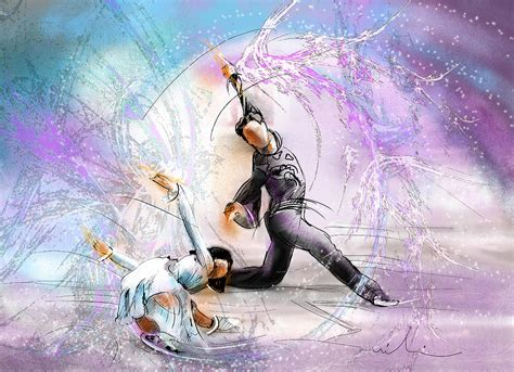 figure skating 02 painting by miki de goodaboom