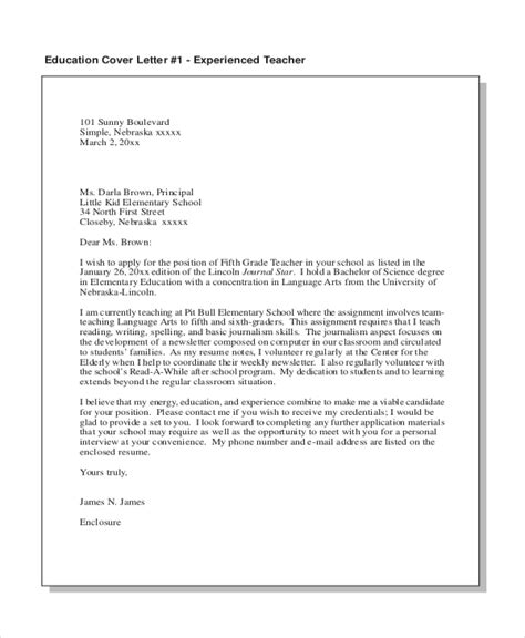 cover letter with experience sle cover letter exles for teachers with experience 28
