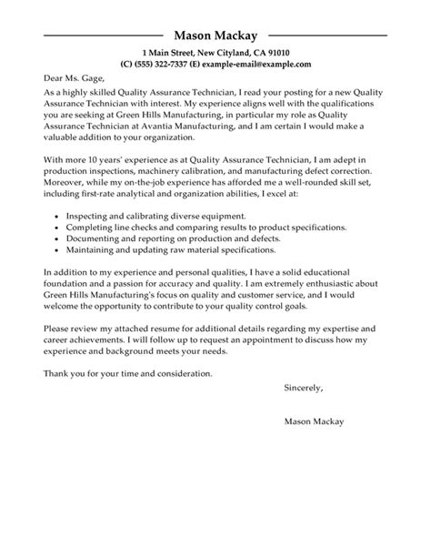 Assurance Associate Cover Letter by Cover Letter For Quality Assurance Associate
