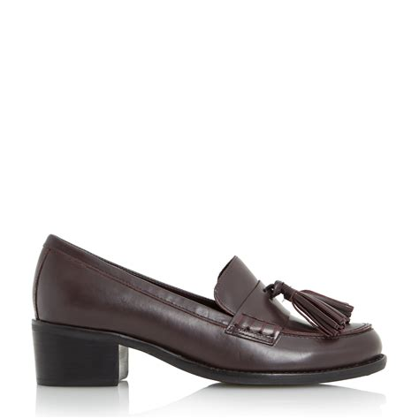 mid heel loafer dune gloria mid heel block loafers in purple berry lyst