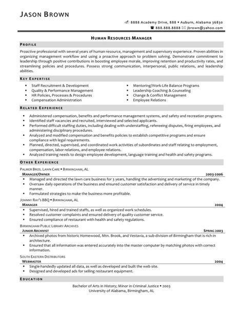 resume objective for human resources best human resources manager resume exle recentresumes