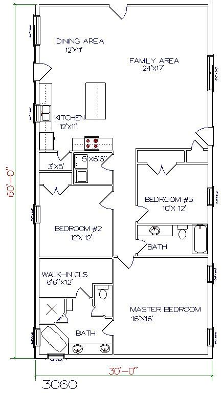 metal house floor plans http www wdmb images floorplans 3060b jpg 30x60 floor plan large bathroom and pantry br3