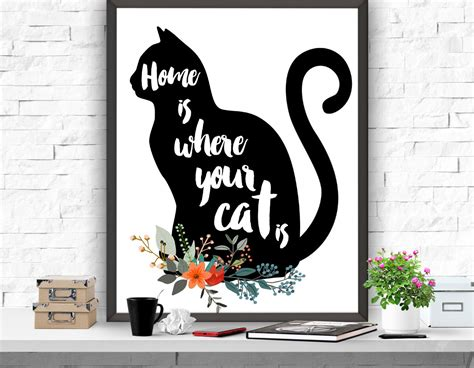 Printable Cat Poster | cat art print home is where your cat is print cat poster