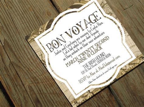 bon voyage going away party invitation moving by