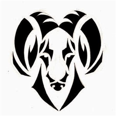 unique black tribal aries head tattoo stencil by noomxbass