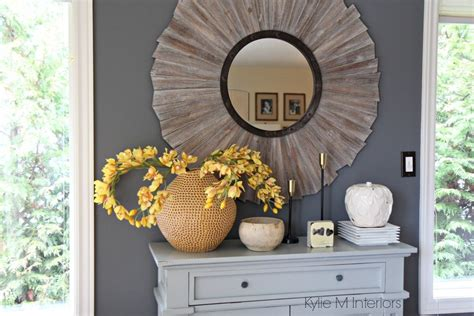 Country Style Mirrors Home Decor Benjamin Gray On Feature Wall In Farmhouse Or Country Style Dining Room With Home Decor