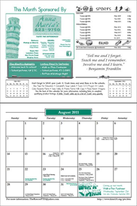Butte College Calendar 2014 2015 Pto Calendar Pre Order Roscoe Parent