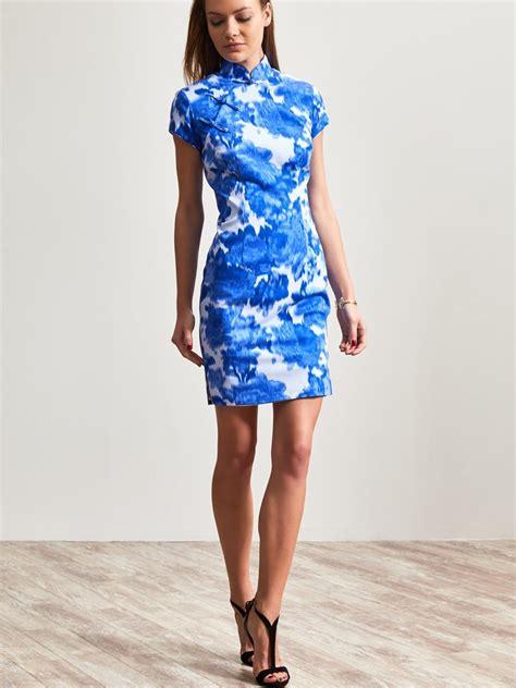 Blorry Dress blurry print cotton elastane mini qipao dress
