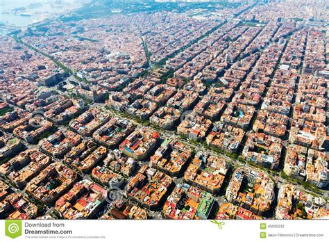 aerial view of barcelona catalonia stock photo image