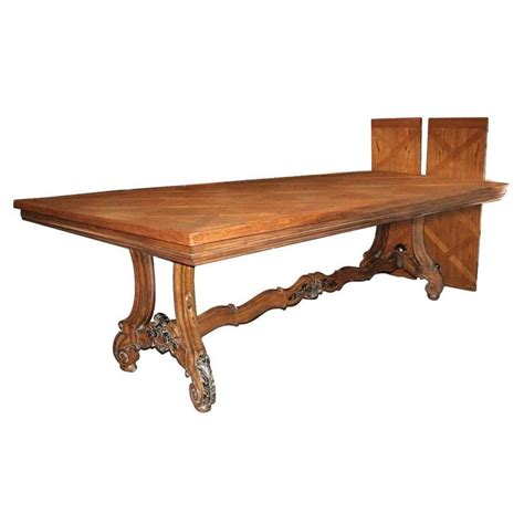 country french antique oak louis xv style dining table at large french country oak parquetry top extension dining