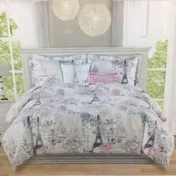 3pc paris full queen duvet pillow sham set eiffel tower floral pink gray new ebay