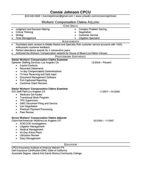 Workers Compensation Investigator Sle Resume by Workers Compensation Resume Resume Ideas