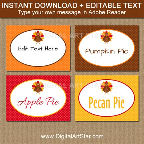 Food Label Place Card Templates by Thanksgiving Food Labels Thanksgiving Place Cards