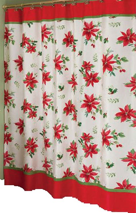 christmas shower curtain poinsettia shower curtains christmas wikii