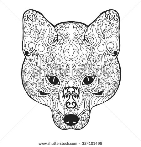 Patterned Animal Coloring Pages by Fox Antistress Coloring Page Black White