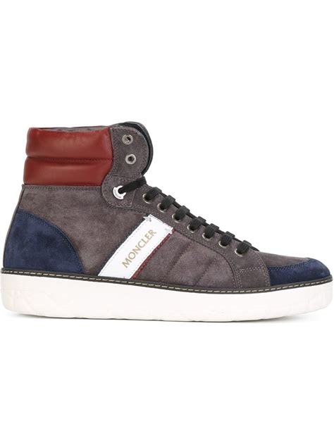 grey high top sneakers lyst moncler lenny suede high top sneakers in gray for