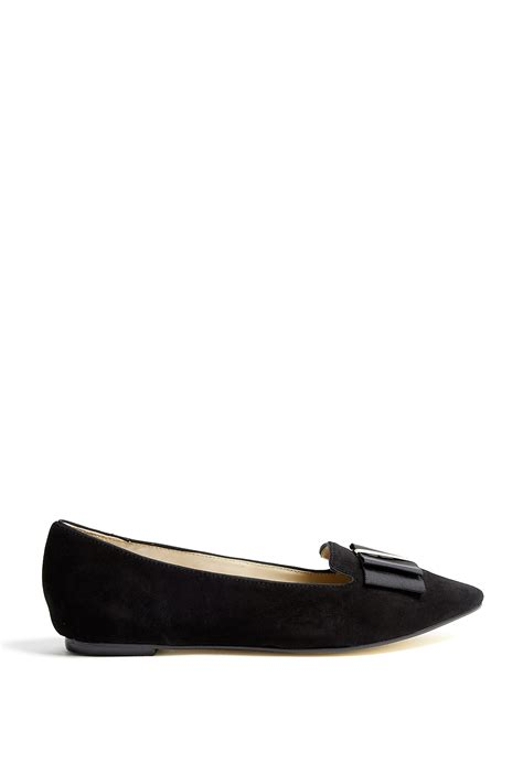 black flat shoes with bow dkny trista suede tuxedo bow flat shoes in black lyst