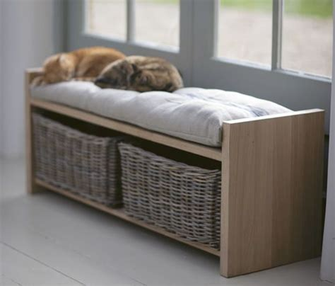 cushioned storage bench cushioned hallway storage bench with wicker baskets all