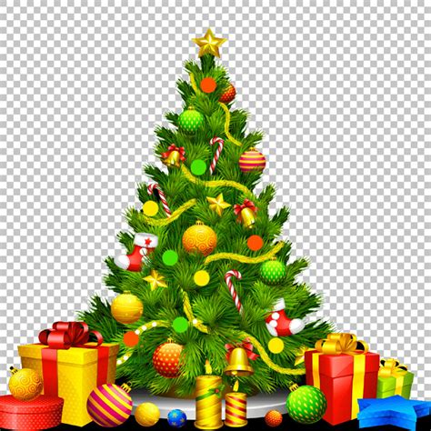 decorated christmas tree and gifts png psd