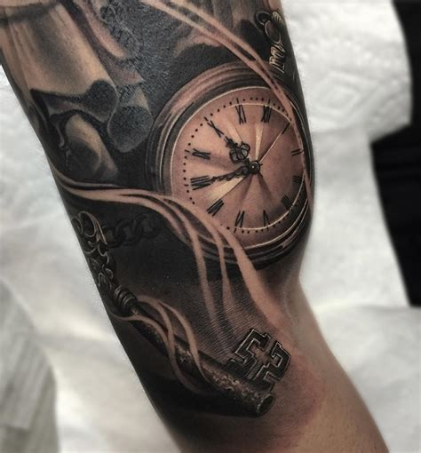 realistic pocket watch amp skeleton key best tattoo design