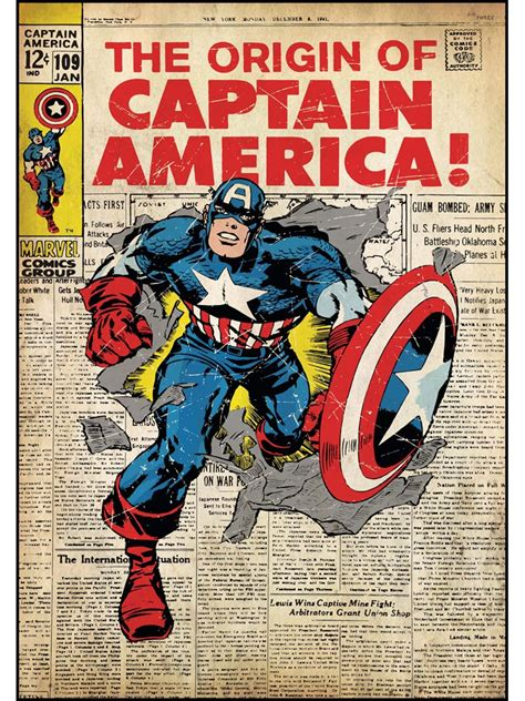 Captain America Comic Book captain america marvel comic book cover large wall accent