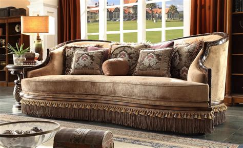 sofa with wood trim homey design hd 1631 tyler wood trim sofa