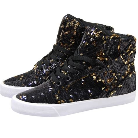 gold sequin high top sneakers 80 supra shoes supra black and gold sequin high
