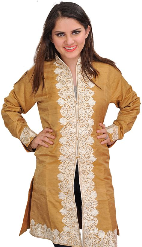 Wedding Border Sts by Mustard Gold Jacket From Kashmir With Ari Embroidered