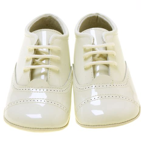 baby boy oxford shoes baby boys ivory oxford pram shoes in patent leather