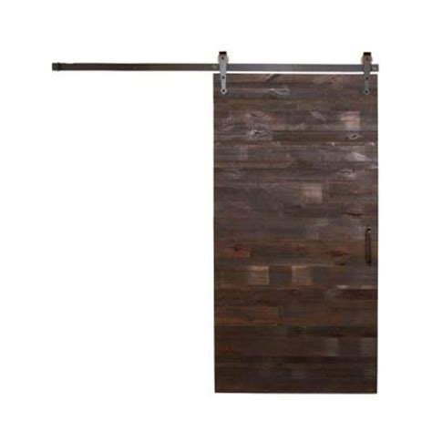 Sliding Barn Door Hardware Home Depot Rustica Hardware 42 In X 84 In Reclaimed Horizontal Wood Barn Door With Arrow Sliding Door