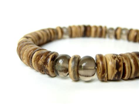 Mens Handmade Bracelets - gunsmoke smoky quartz s beaded bracelet authentic