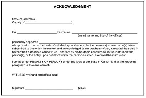 Acknowledgement Letter For Verification california notary st requirements california apostille