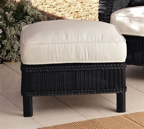 black wicker ottoman palmetto all weather wicker ottoman black pottery barn