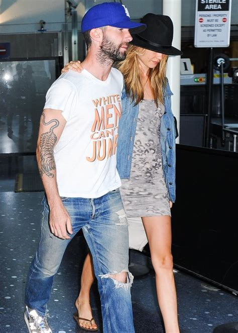 Maroon 5 Misery White T Shirt maroon 5 s adam levine and fiance behati prinsloo jet
