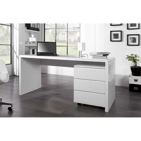 Bureau Professionnel Design 160 Cm Coloris Blanc Brillant Bureau Design Blanc