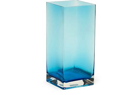 Blue Square Vase by Blue Square Glass Vase