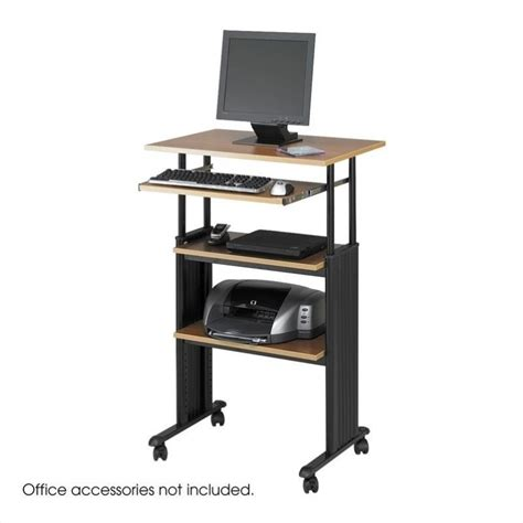 Computer Desk Workstation Safco M 220 V Standing Height Adjustable Wood Workstation Medium Oak Computer Desk Ebay
