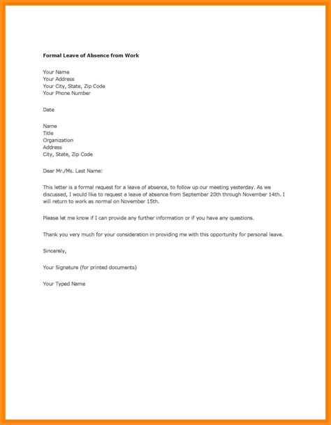 Sle Letter Of Request For Absence In School leave of absence letter template for school fresh exle