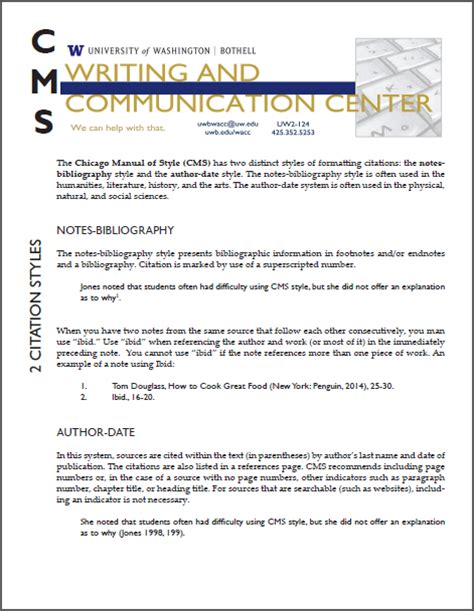 footnote cms format chicago style formatting writing communication center